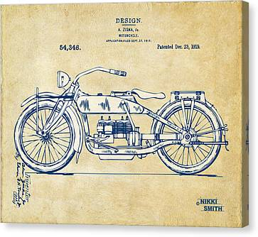 Vintage Harley-davidson Motorcycle 1919 Patent Artwork Canvas Print by Nikki Smith