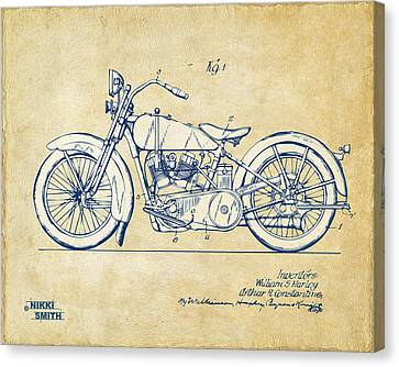 Vintage Harley-davidson Motorcycle 1928 Patent Artwork Canvas Print by Nikki Smith
