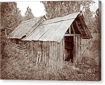 Vintage Iditarod Trail Shelter Cabins Canvas Print by John Stephens