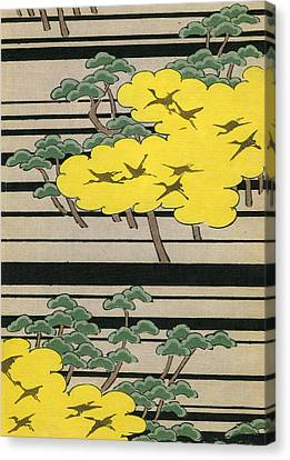 Vintage Japanese Illustration Of An Abstract Forest Landscape With Flying Cranes Canvas Print by Japanese School