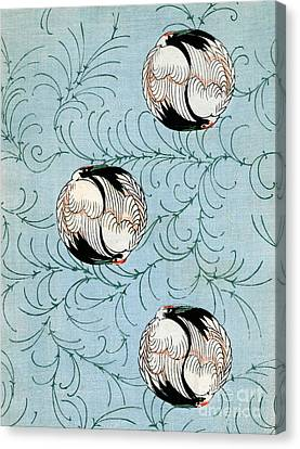 Vintage Japanese Illustration Of Curled Cranes Canvas Print by Japanese School