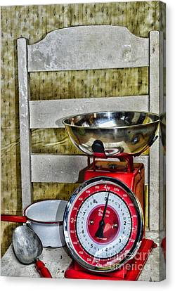 Vintage Kitchen Chair And Scale Canvas Print by Paul Ward