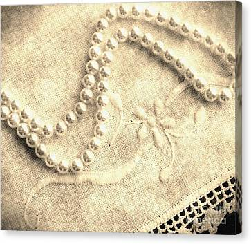 Vintage Lace And Pearls Canvas Print by Barbara Griffin
