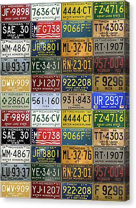 Vintage License Plates From Michigan's Rich Automotive Past Canvas Print by Design Turnpike