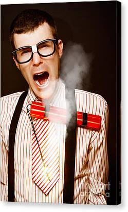 Vintage Male Business Dork Under Explosive Stress Canvas Print by Jorgo Photography - Wall Art Gallery