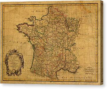 Vintage Map Of France Old Schematic Circa 1771 On Worn Distressed Parchment Canvas Print by Design Turnpike