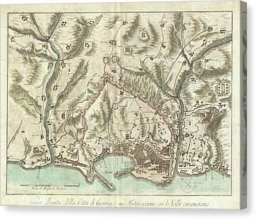 Vintage Map Of Genoa Italy - 1800 Canvas Print by CartographyAssociates