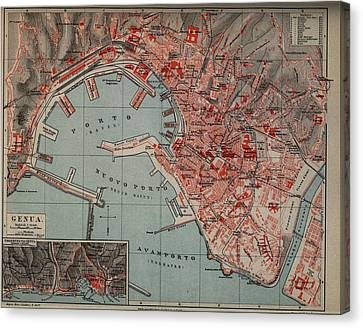 Vintage Map Of Genoa Italy - 1894 Canvas Print by CartographyAssociates