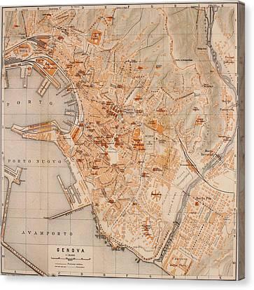 Vintage Map Of Genoa Italy - 1906 Canvas Print by CartographyAssociates