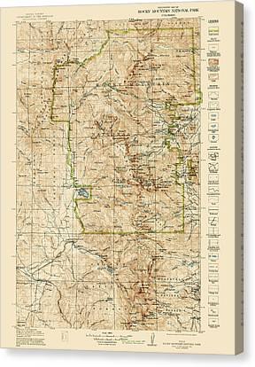 Vintage Map Of Rocky Mountain National Park - Colorado - 1919/1940 Canvas Print by Blue Monocle