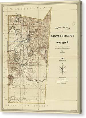 Vintage Map Of Santa Fe County Nm - 1883 Canvas Print by CartographyAssociates