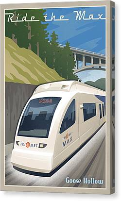 Vintage Max Light Rail Travel Poster Canvas Print by Mitch Frey
