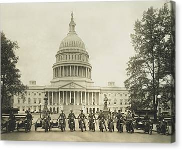Vintage Motorcycle Police - Washington Dc  Canvas Print by War Is Hell Store