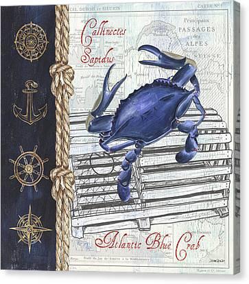 Vintage Nautical Crab Canvas Print by Debbie DeWitt
