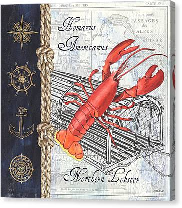 Vintage Nautical Lobster Canvas Print by Debbie DeWitt