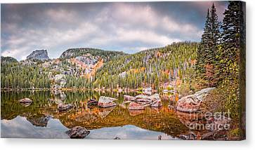 Vintage Panorama Of Bear Lake In The Fall - Rocky Mountain National Park Estes Park Colorado Canvas Print by Silvio Ligutti