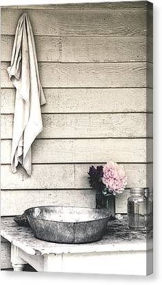 Vintage Peony And Hand Wash Basin Canvas Print by Julie Palencia