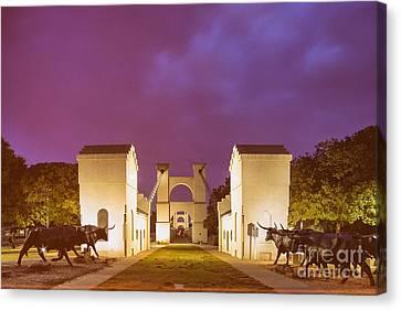 Vintage Photograph Of The Waco Suspension Bridge And Chisholm Trail At Dawn - Downtown Waco - Texas Canvas Print by Silvio Ligutti