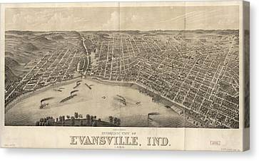 Vintage Pictorial Map Of Evansville Indiana - 1880 Canvas Print by CartographyAssociates