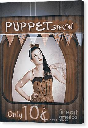 Vintage Pinup Girl Inside A Puppet Show Booth Canvas Print by Jorgo Photography - Wall Art Gallery