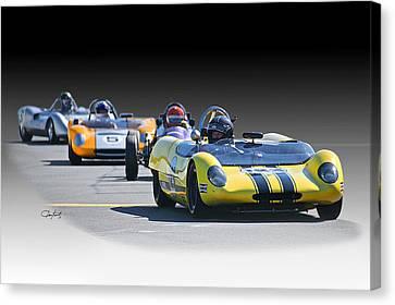 Vintage Racecar 'home Stretch' Canvas Print by Dave Koontz