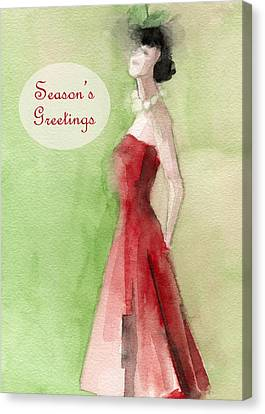 Vintage Red Dress Fashion Holiday Card Canvas Print by Beverly Brown Prints
