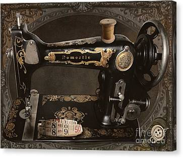 Vintage Sewing Machine Canvas Print by Mindy Sommers