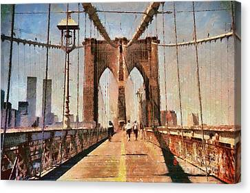 Vintage Shot Of Brooklyn Bridge With Twin Towers Canvas Print by Nishanth Gopinathan