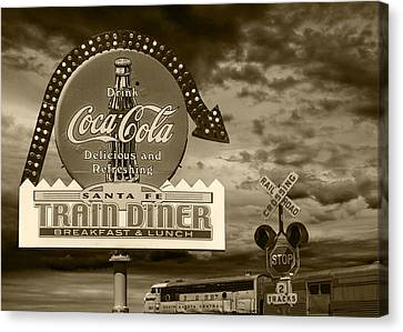 Vintage Sign In Sepia For A Classic Train Diner Canvas Print by Randall Nyhof