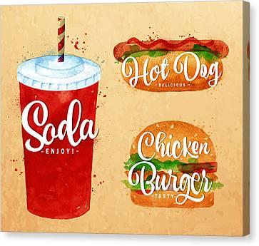 Vintage Soda Canvas Print by Aloke Design