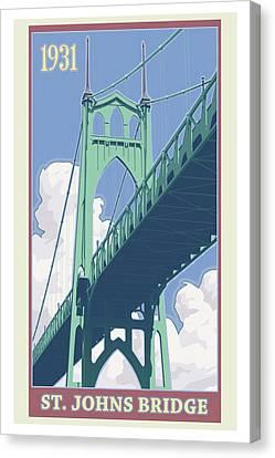 Vintage St. Johns Bridge Travel Poster Canvas Print by Mitch Frey