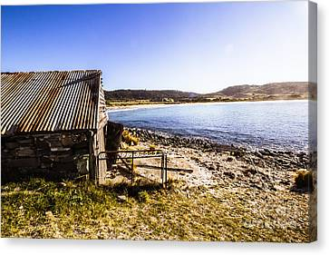 Vintage Stone Beach Cabin  Canvas Print by Jorgo Photography - Wall Art Gallery