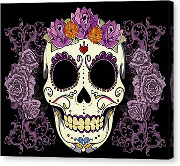 Vintage Sugar Skull And Roses Canvas Print by Tammy Wetzel