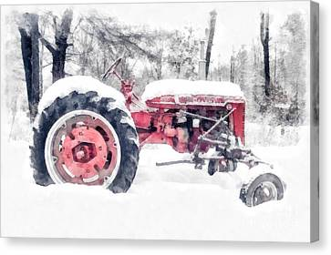 Vintage Tractor Christmas Canvas Print by Edward Fielding