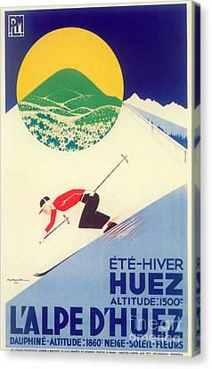 Vintage Travel Skiing Canvas Print by Mindy Sommers