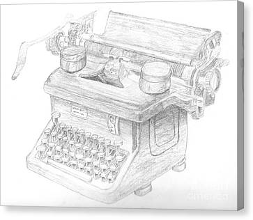 Vintage Typewriter Sketch Canvas Print by Caffrey Fielding