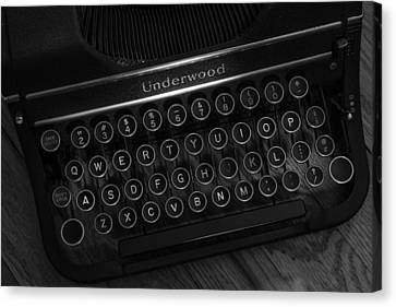 Vintage Underwood Typewriter Black And White Canvas Print by Terry DeLuco
