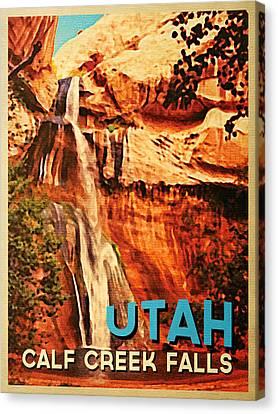 Vintage Utah Calf Creek Waterfall Canvas Print by Flo Karp