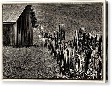 Vintage Wheel Fence Canvas Print by David Patterson