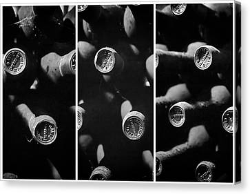 Vintage Wine Triptych Panel Canvas Print by Georgia Fowler