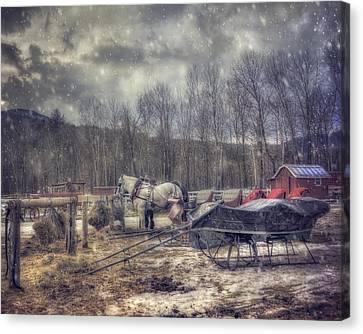 Vintage Winter Sleigh Ride - Stowe Vt Canvas Print by Joann Vitali