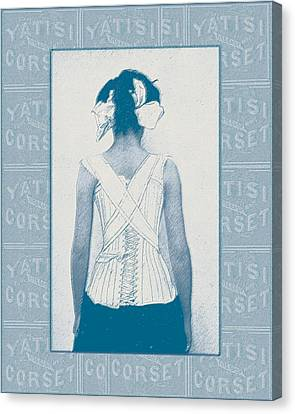 Vintage Woman In Corset Blue Duotone Canvas Print by Sandra McGinley