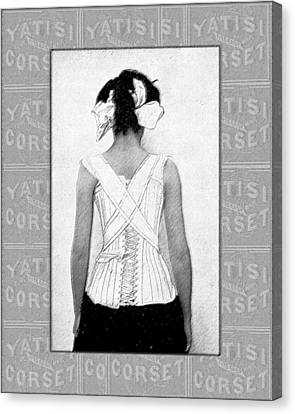 Vintage Woman In Corset Duotone Canvas Print by Sandra McGinley
