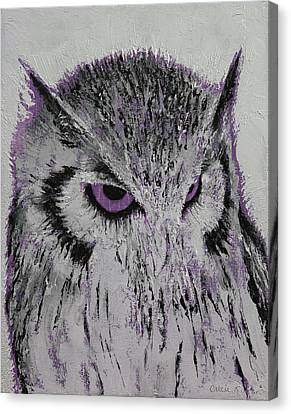 Violet Owl Canvas Print by Michael Creese