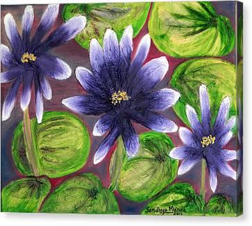 Violet Padma- The Lotus Canvas Print by Sandhya Manne