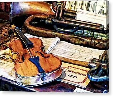 Violin And Bugle Canvas Print by Susan Savad