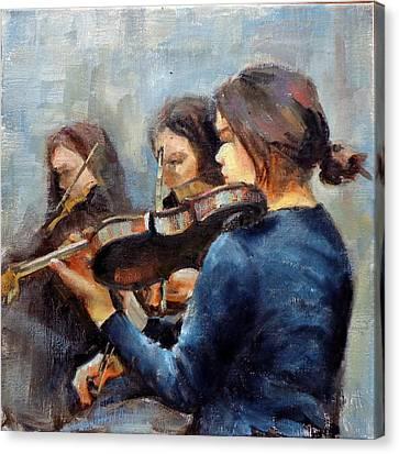 Violin Practice Canvas Print by Donna Shortt