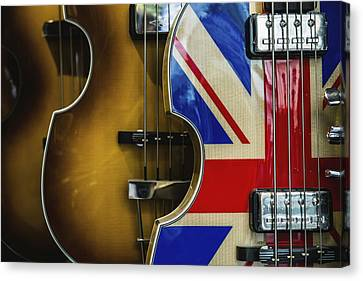 Guitar With Union Jack Pattern Canvas Print by Carlos Sanchez Pereyra