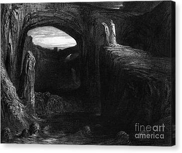 Virgil And Dante Entering Hell Canvas Print by Gustave Dore
