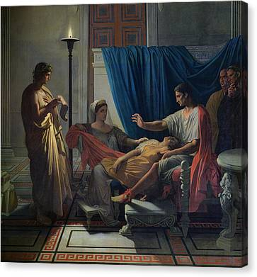 Virgil Reading The Aeneid Canvas Print by Jean Auguste Dominique Ingres